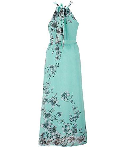 MissFox Femme Floral Imprimé Robe Longue Sans Manches, Robe de Soirée, Robe de Party Vert