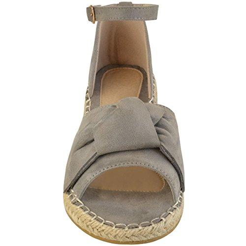 donna basse punta aperta fiocco ESPADRILLAS Sandali con cinturino alla caviglia scarpe décolleté Taglia Grigio Finto Scamosciato
