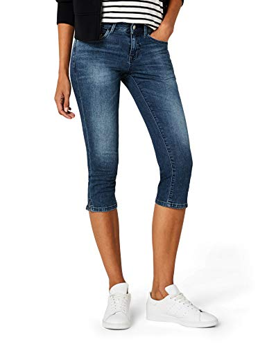 TOM TAILOR Damen Shorts Alexa Capri, Blau (Mid Stone Wash Denim 1052), W29