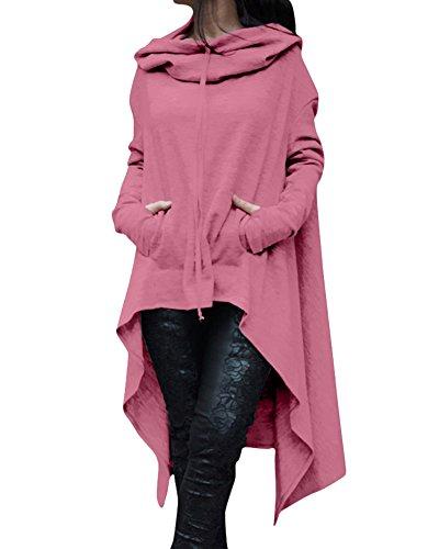 Damen Langarmshirts Sweatshirt Oberteil Tops Kapuzenpullover Kapuzenshirt Lose Asymmetrisch Jumper Pink