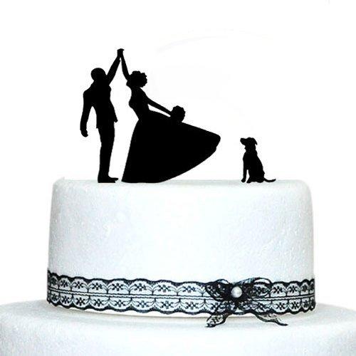 Funny Dancing novia y novio con perro decoración para tarta para boda regalo para boda Decortions rústico boda aniversario regalos
