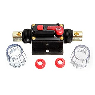 Buwico® DC 12V 20A /30A/ 50A/ 60A/ 80A Car Protection Audio Inline Circuit Breaker Fuse Holder (12V 80A)