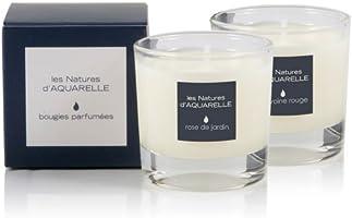 Aquarelle 2 Bougies Parfumées Rose de Jardin + Pivoine Rouge 30 g