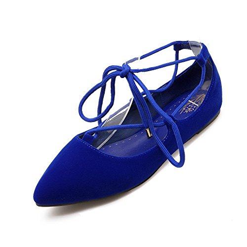 VogueZone009 Femme Lacet Suédé Pointu Non Talon Couleur Unie Chaussures à Plat Bleu
