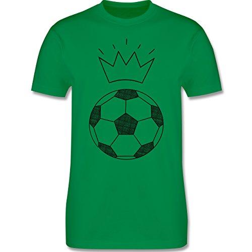 Fußball - Fußball Skizze mit Krone - Herren Premium T-Shirt Grün