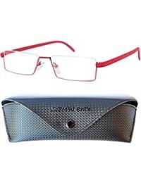 4ac95579b0 Flexibles Gafas de Lectura de Media Montura | Montura de Acero Inoxidable  Ligera (Rojo) | Estuche Gratis | Gafas de…