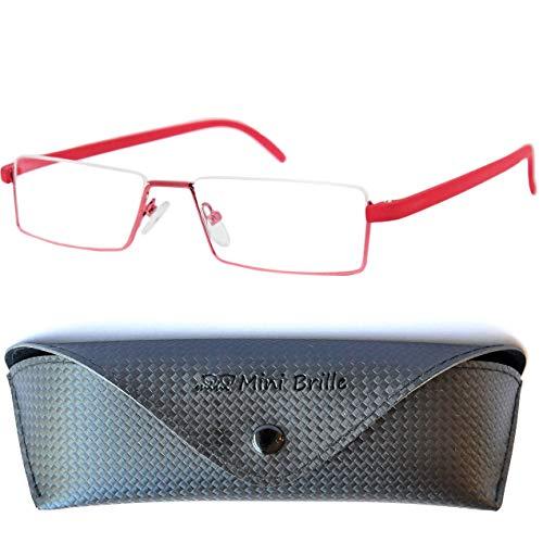 Flex Brille - Leichte & Flexible Halbbrille Lesebrille | Edelstahl Rahmen (Rot) | GRATIS Etui | Lesehilfe für Damen und Herren | +1.0 Dioptrien