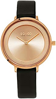So&Co New York Madison 5204L Women's Rose Dial Leather Band Watch - 5204L.5, Analog Display, Japanese