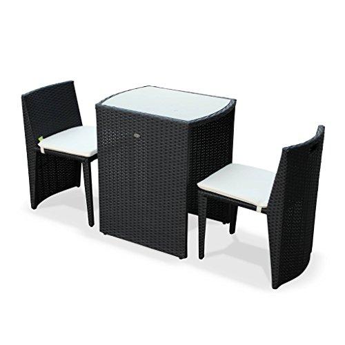 Table de Jardin en résine tressée - Doppio - Noir, Coussins écru - 2 Places, encastrable pour Balcon et terrasse