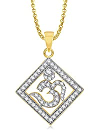 Om Pendants Lockets With Chain In Pendants & Lockets For Men Women In American Diamond Cz Jewellery Gifts Gold...