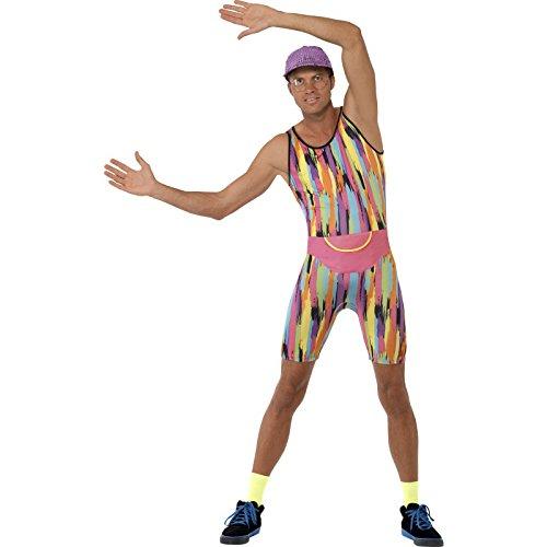 Smiffys, Herren Aerobic Instructor Kostüm, Jumpsuit, Mütze und Bauchtasche, Größe: L, (80er Workout Kostüme)