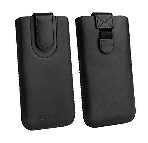 emartbuy Schwarz/Schwarz Premium-Pu-Leder-Slide In Case Abdeckung Tashe Hülle Sleeve Halter (Größe F) Mit Zuglaschen Mechanismus Kompatibel mit Die Unten Aufgeführten Smartphones