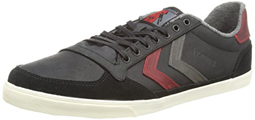 Hummel - Slimmer Stadil Oiled Lo, Sneakers, unisex, Nero (Black (Black/Ribbon Red/Castle Rock)), 40