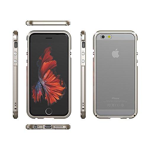 """iPhone 6 / 6S 4.7"""" Coque ,SHANGRUN Aluminium Metal Frame Bumper Coque + Transparent PC Matériel Protictive Couvercle housse Etui Protection Case pour iPhone 6 / 6S 4.7"""" Bleu Argenté"""