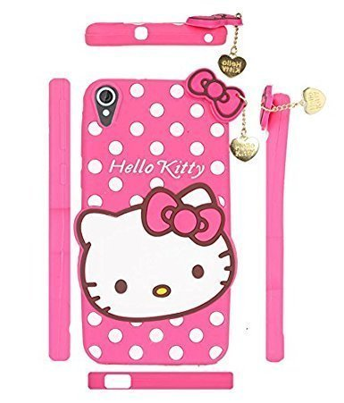 Lize 3D Cute Hello Kitty Silicone with Pendant Back Case Cover for HTC Desire 628