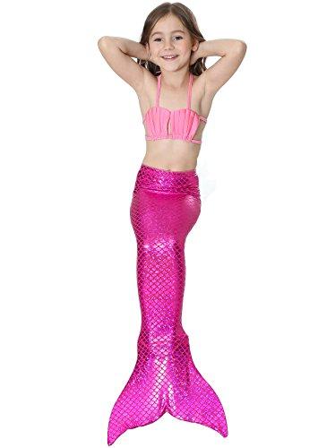 Das Beste Mädchen Meerjungfrau Bikini Kostüm Schwimmanzug Badeanzüge Tankini Muschelbikini Bademode Badeanzüge Meerjungfrauenschwanz Schwimmen Baden, 130, Farbe: Rosa+heiß Rosa