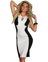 4476 Tailliertes Kleid Stretch-Stoff dress robes Gr. S/M 36 38 Weiß Schwarz