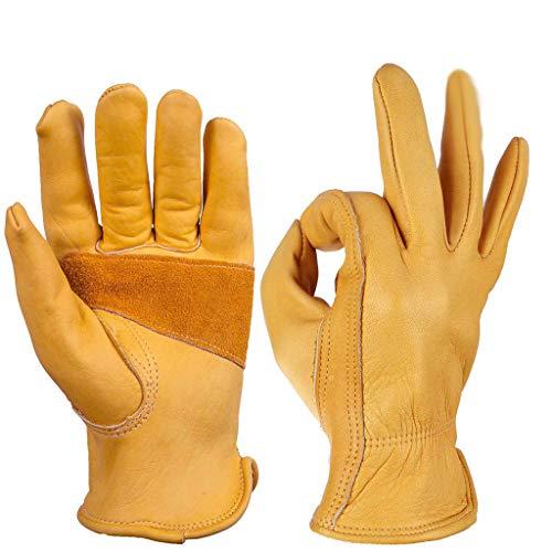Classici guanti da moto in stile vintage, guanti da guida in pelle anilina, estivi - giallo