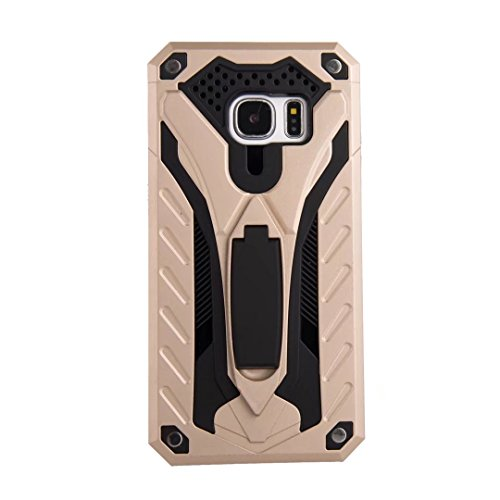 EKINHUI Case Cover Neuer stilvoller hybrider Rüstungs-schützender Abdeckungs-Fall Shockproof Doppelschicht PC + TPU rückseitige Abdeckung mit Kickstand für [Schock-Absorbtion] für Samsung-Galaxie S7 ( Gold
