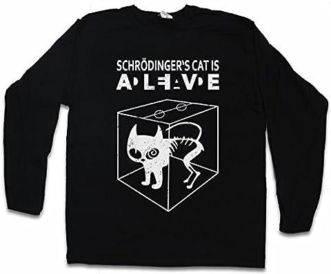 SCHRÖDINGER´S CAT IS ALIVE DEAD II T-SHIRT à MANCHES LONGUES - The Big Schroedinger TV Bang Theory Sheldon Tailles S – 5XL