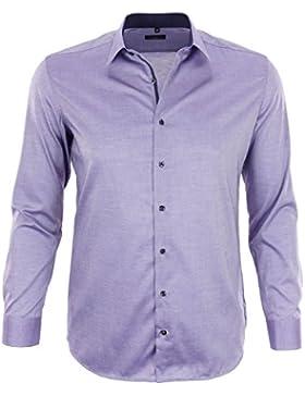 ETERNA Herren Langarm Hemd Slim Fit Basic-Kent lila strukturiert mit Patch 8102.93.F34B