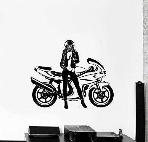 yaoxingfu Vinile Applique da Parete Bicicletta velocità Motociclista Donna Bella Murale Moto, Appassionato di Moto Decorazione Nero 69x57cm
