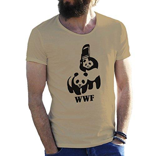 Panda WWF Wrestling Fighting With Chair Fun Cool Logo Herren T-Shirt Sand Beige