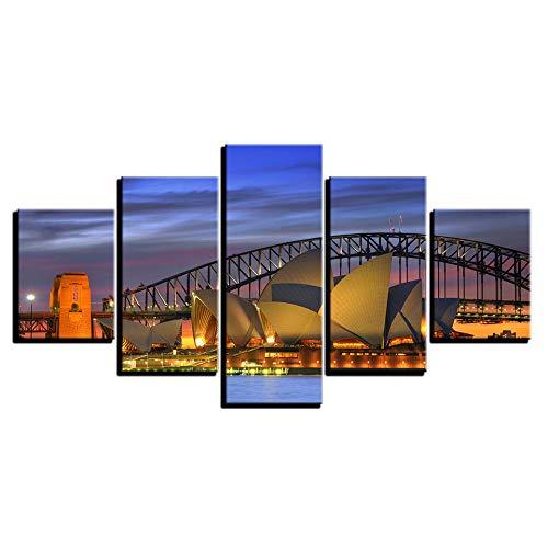 MAANINE Leinwand Wandkunst Bilder Home Decor Wohnzimmer 5 Stücke Sydney Nacht Landschaft Malerei HD Druckt Harbour Bridge Poster, 10x15cmx2 10x20cmx2 10x25cmx2 (Sydney Harbour Bridge Poster)