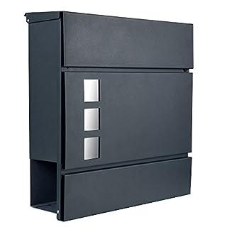 Designer Briefkasten Postkasten 111 anthrazit RAL7016 mit Sichtfenster/Zeitungsfach / Zeitungsrolle NUR 1 x VERSANDKOSTEN FÜR ALLE BESTELLUNGEN ZUSAMMEN ! (111 anthrazit RAL7016)