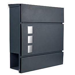 Designer Briefkasten Postkasten 111 anthrazit RAL7016 mit Sichtfenster/Zeitungsfach/Zeitungsrolle NUR 1 x VERSANDKOSTEN FÜR ALLE BESTELLUNGEN ZUSAMMEN ! (111 anthrazit RAL7016)