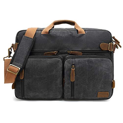 CoolBell Herren Messenger Bag Umhängetasche Aktentasche umwandelbar Reiserucksack Laptoptasche 17,3 Zoll Multifunctional Schultertasche/Handtasche für Männer, wasserdicht Wachsöl Canvas Schwarz -