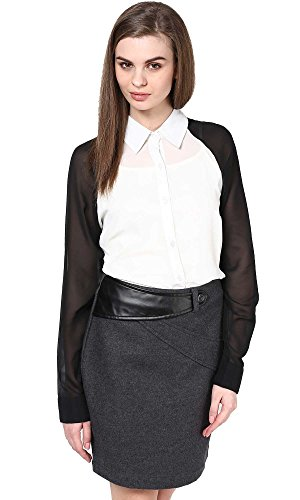The Gud Look Women's Polyester White White Black Shirt  available at amazon for Rs.249