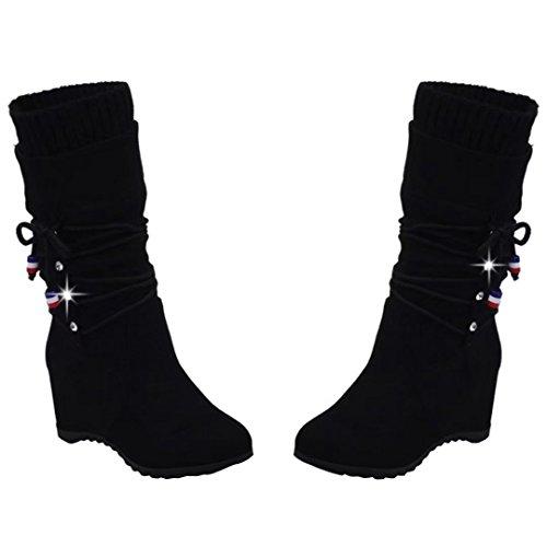 Bild von AIYOUMEI Damen Winter Keilabsatz Halbstiefel mit 6cm Absatz Elegant Bequem Mid Calf Stiefel