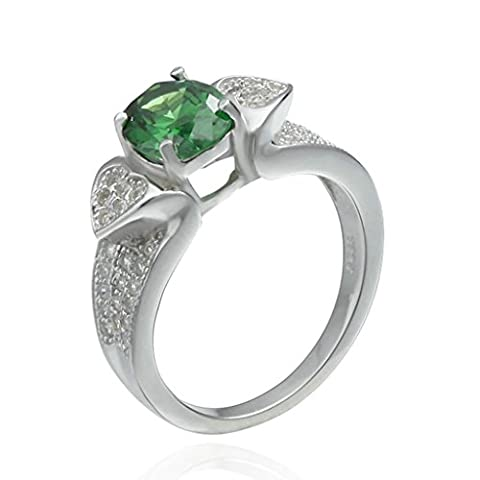 Bishiling Schmuck 925 Sterling Silber Ring Damen Herzs Oval Grün Kristall Verlobungsring Eheringe Damenring Ring Weiß Größe 49 (Amethyst Hängende Uhr)