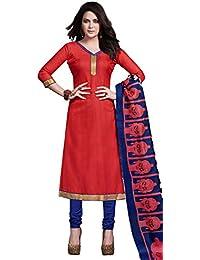 Suprising Red Bhagalpuri Silk Straight Suit With Dupatta.
