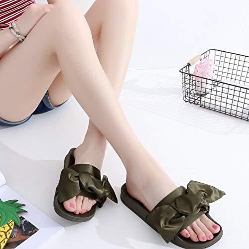 Preisvergleich Produktbild Noradtjcca Art- und Weisefrauenhefterzufuhren Satin Bowknot Beleg-auf Hefterzufuhren weiche PVC-Sohle Bequeme Flache Sandelholze beiläufige Feiertags-Sandelholze Schuhe