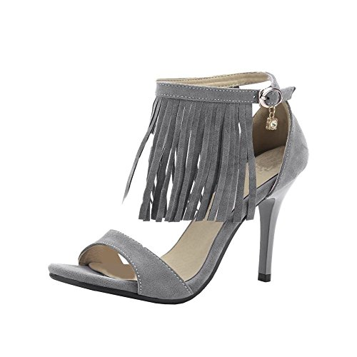 Mee Shoes Damen modern reizvoll elegant Schnalle Strass open toe Knöchelriemchen ankle strap mit Quaste Stiletto Sandalen Grau