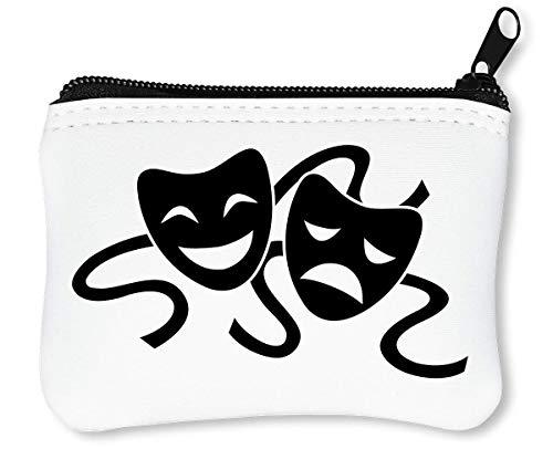 Theater Drama Masks Black Graphic Reißverschluss-Geldbörse Brieftasche Geldbörse