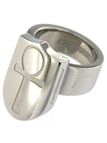Chronotech anello in acciaio con centrale scudo e chiave della fortuna misura 10