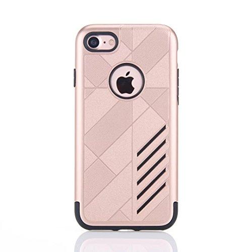 iPhone 7 hüll, Lantier 2 in 1 unverwüstliche Rüstungs Entwurf Stoß Anti Tropfen Durable weichen TPU und harte PC Dual Layer Hybrid Case Schutzhülle für Apple iPhone 7 (4,7 Zoll) 2016 Rose Gold Rose Gold