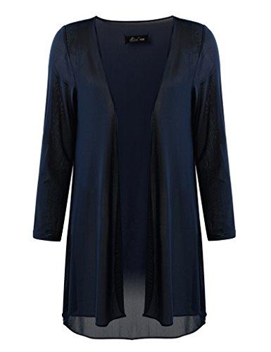 Ferand leichter Oversize Damen 3/4 Long Cardigan Strickjacke mit offener Vorderseite für Frühling und Sommer, Jacke und Top für Frauen, Navy blau, 2XL (Oversize Stil)