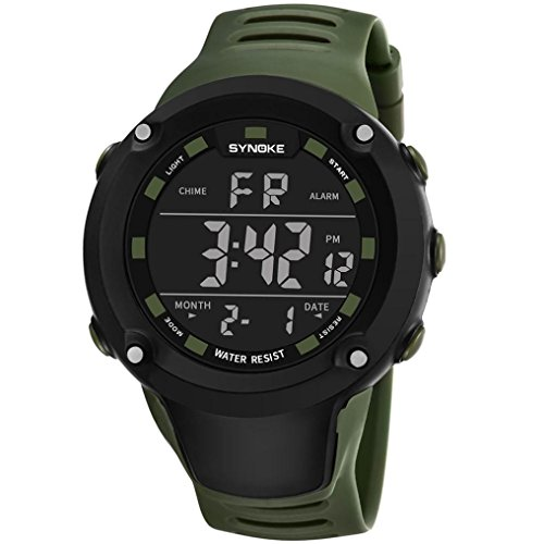 LCLrute Gute Qualität SYNOKE Multifunktions 50M wasserdichte Uhr LED Digital Double Action Watch (Army Green)