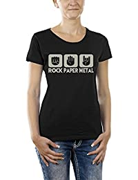 Touchlines Damen  Girlie T-Shirt Stein Papier Rock  Heavy Metal