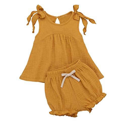 DIASTR Kleinkind Baby Mädchen Junge Outfits Einfarbig Strampler Kurzarm Spielanzug Side Snap Baby Toddler Baby Neugeborenes Kinderkleidung(0Y-2Y)