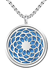 Homyl Sunflower Essential Oil Perfume Diffuser Necklace Pendant Locket with 5 Pads