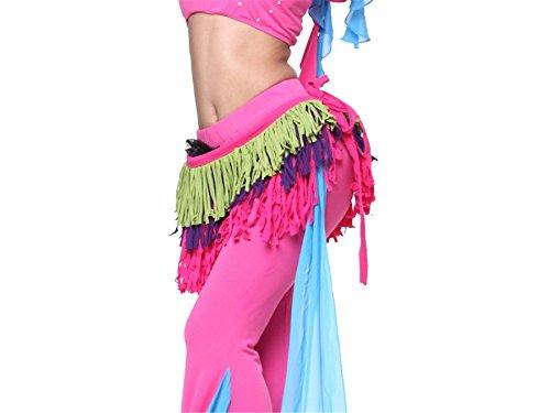 3 Rangées Triangle Shimmy Belly Dancing Foulard Hip Scarves Ceintures green+purple+dark pink