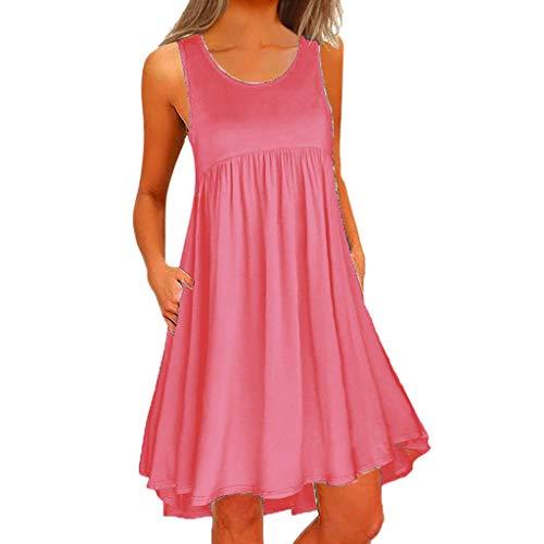 Daysing Kleider Abendkleider Sommer Party Casual ärmellos Einfarbig EIN Online-Rock Runder Ausschnitt einfarbig Kleid