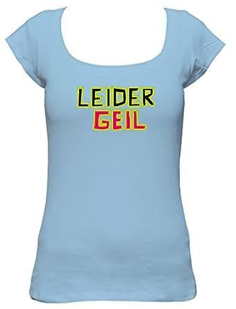 Raxxpurl Leider geil Fun Damen T-Shirt, Größe:S;Farbe:hellblau