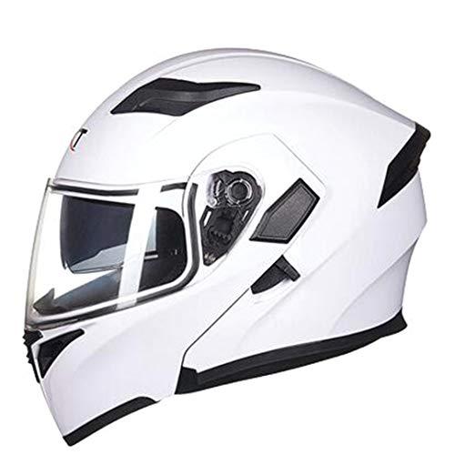 KeRuiLou Casco Moto Integrale con Visiera Parasole White M