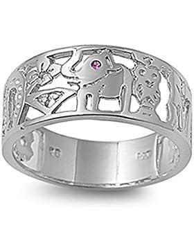 Ring aus Sterlingsilber mit Zirkonia - Glücksring